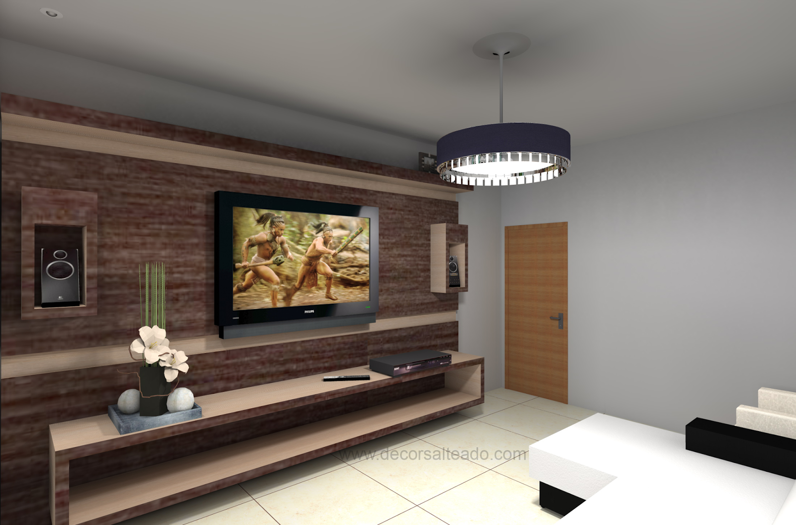 #906F3B Minha Sala de TV com jeito de cinema! Decor Salteado Blog de  1600x1056 píxeis em Ambientes Decorados Sala De Tv