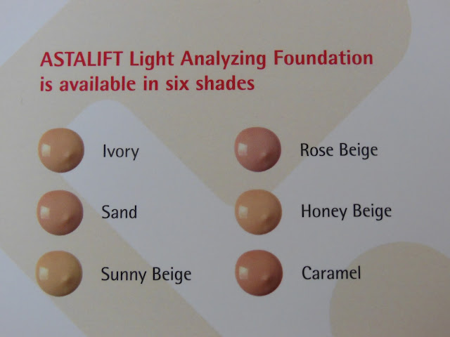 Astalift light analyzing foundation swatches