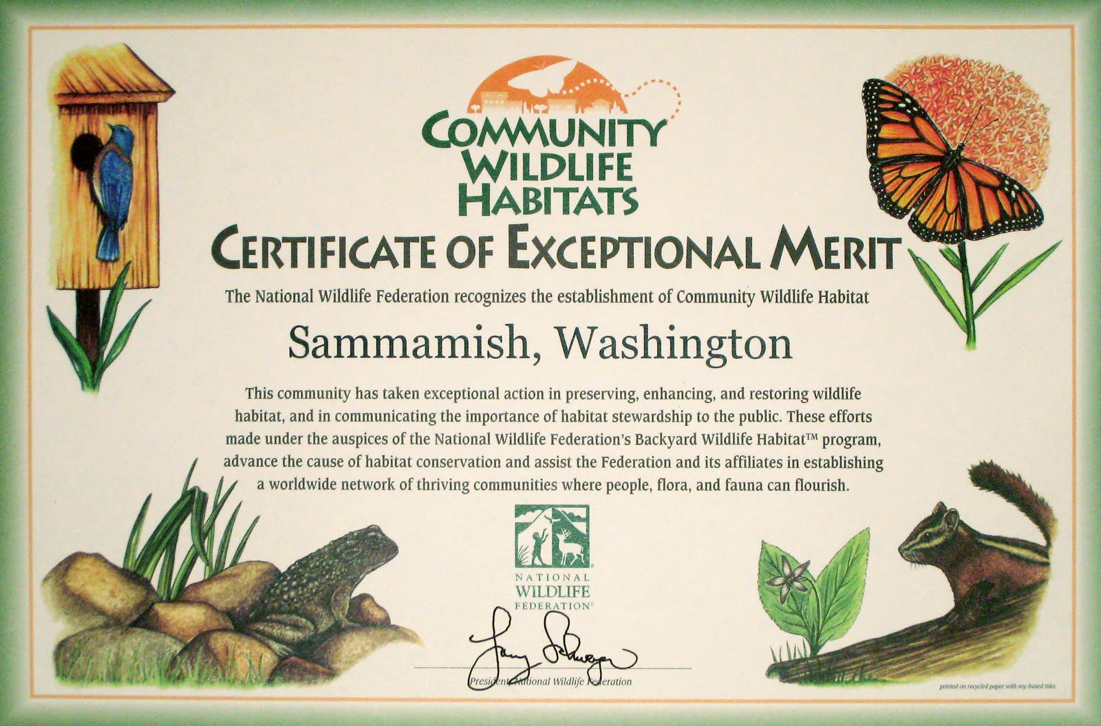 sammamish community wildlife habitat project celebrating