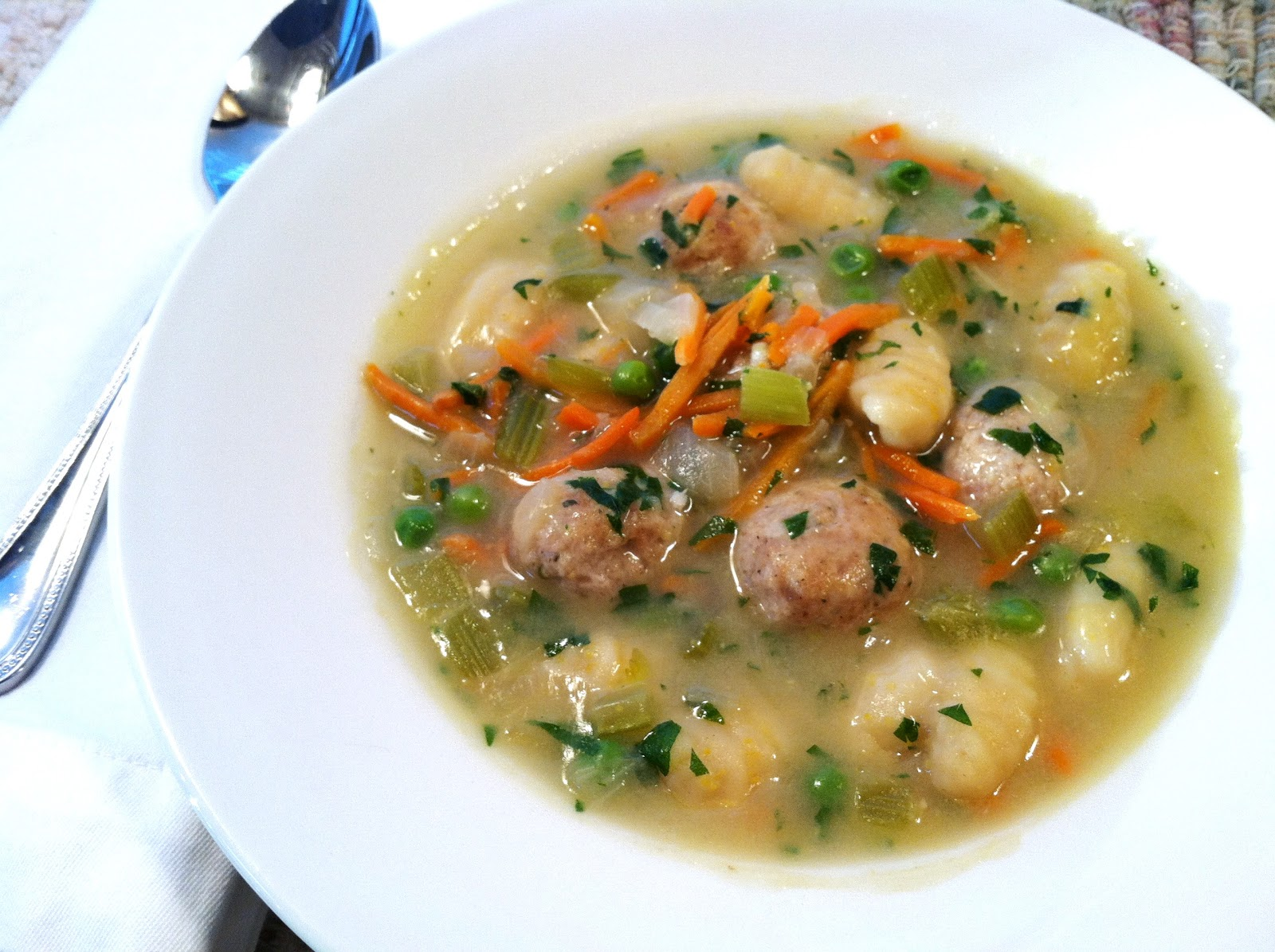 Italian Wedding Soup with Chicken Meatballs and Gnocchi.