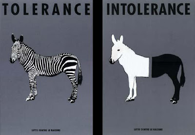 tolerance is a zebra intolerance is white in front and black in back with the two halves not touching