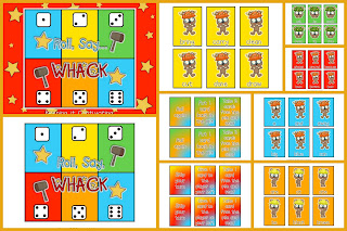 Roll, Say... Whack Dolch Sight Word Game.  Roll Say Keep