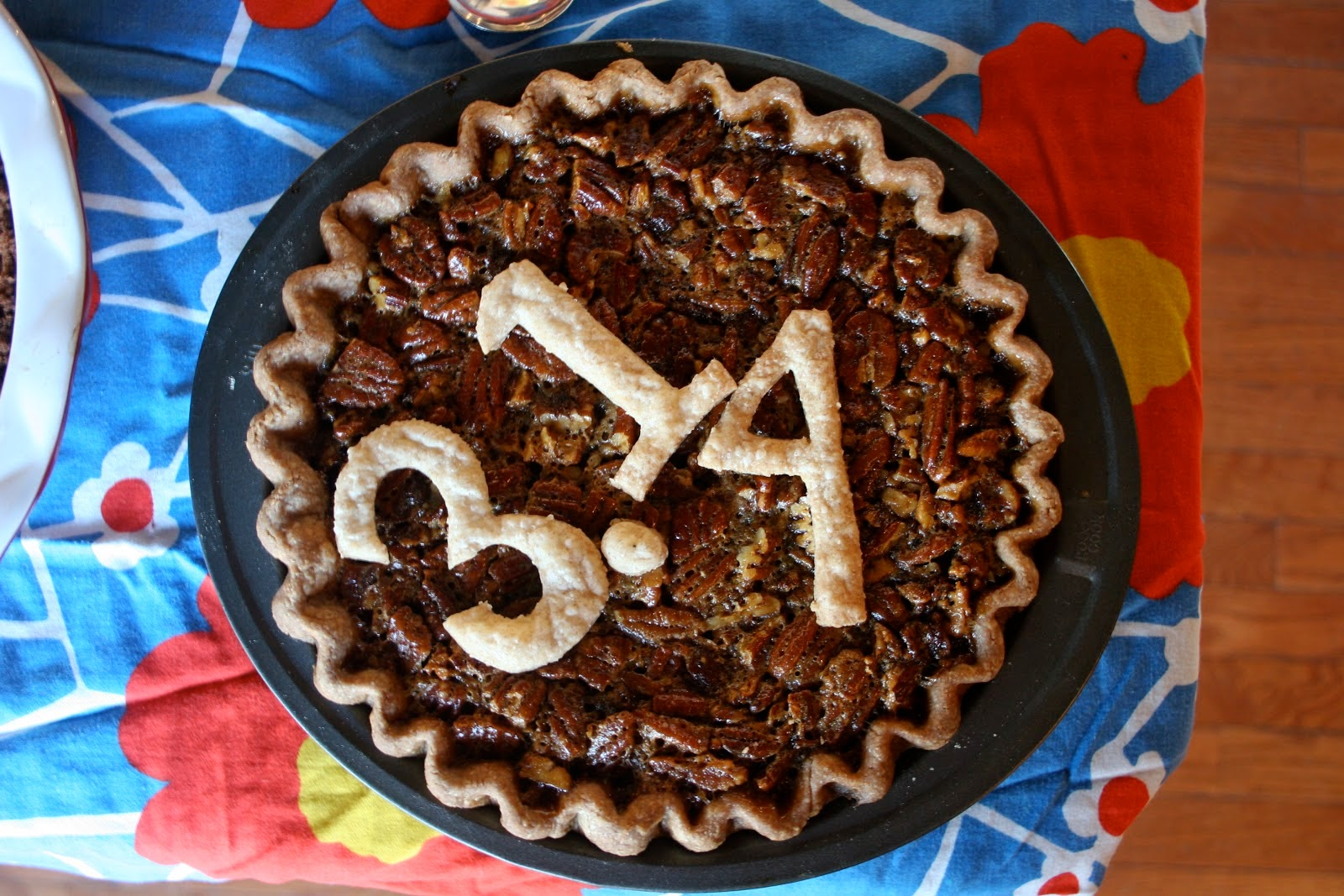 Teeny Pies' Bourbon Bacon Pie with 3.14 Pi(e) Day numbers