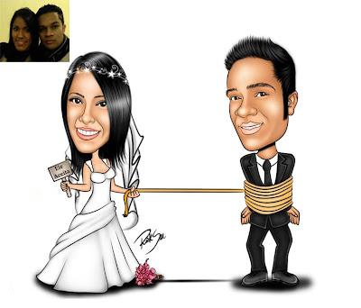 noiva laçando o noivo com corda