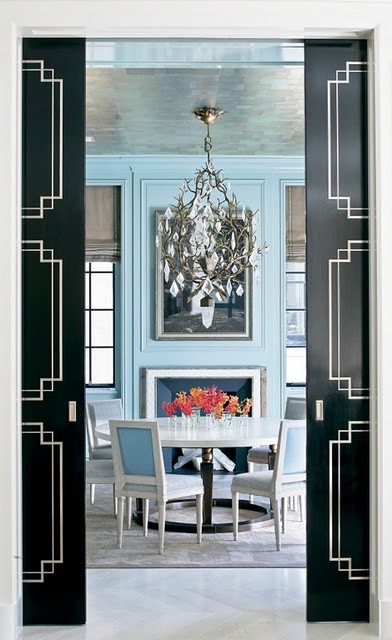 Doors Are Pretty Basic But With A Coat Or Two Of Black Paint And The White Trim Makes For Timeless Dramatic Entry Into This Stunning Dining Room