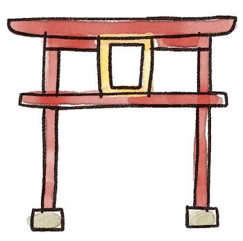 鳥居のイラスト(お正月)