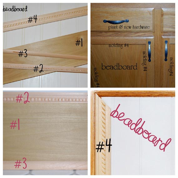 Remodelaholic builder grade cabinet upgraded tutorial for Add beadboard to kitchen cabinets