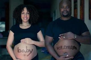 Smešne slike: trudnica sa stomakom i čovek sa velikim stomakom