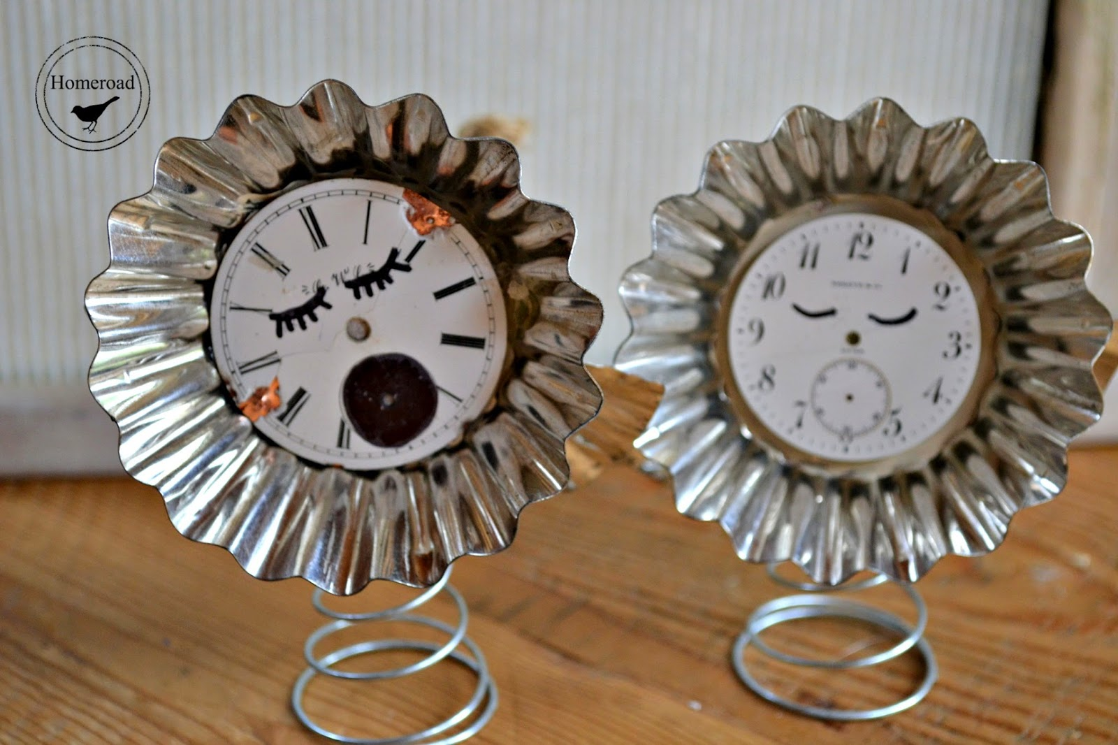 vintage tart tin clock face angel ornaments www.homeroad.net