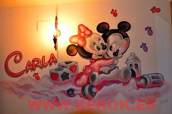 Murales infantiles Mickey y Minnie bebés