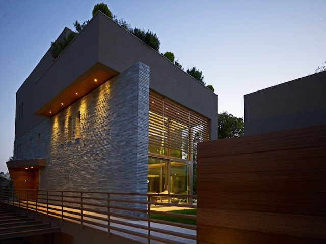 Stone facade on modern home