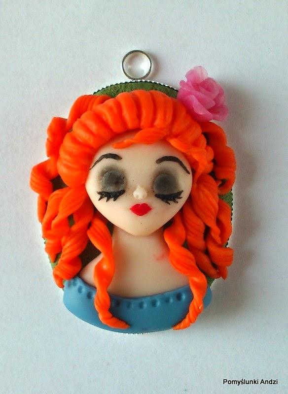 polymer clay, kawaii, chibi, pendant, fimo, premo, redhair,