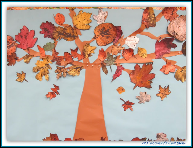 Fall Leaf Prints made with paint (Season RoundUP at RainbowsWithinReach)