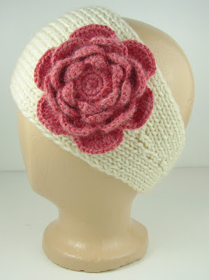 knit ear warmer white cream pink crochet flower
