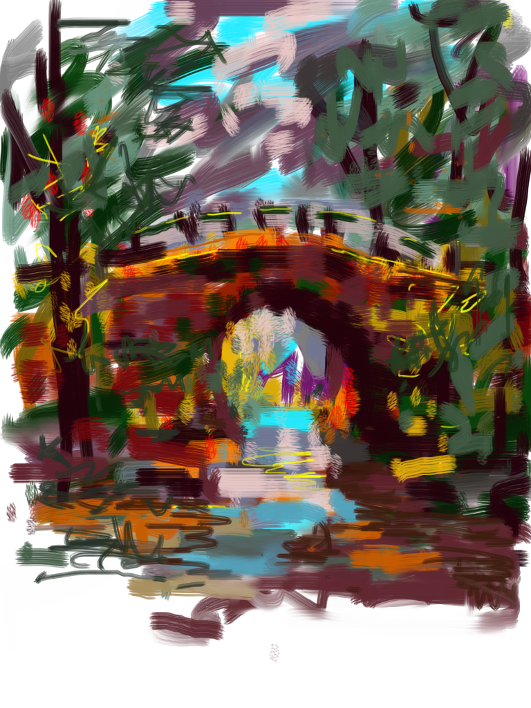 pat meyer daily painter beyond the bridge using my finger