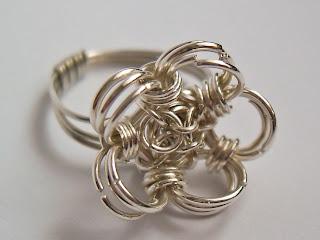 pierścionek kwiatek chainmaille kielich