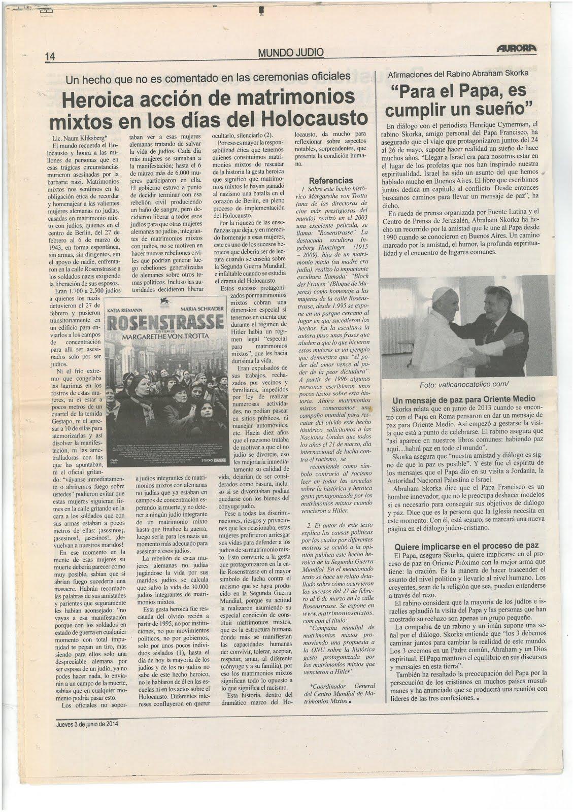 40 - AURORA, Israel.Periódico en papel. El más importante periódico judío en el mundo en idioma