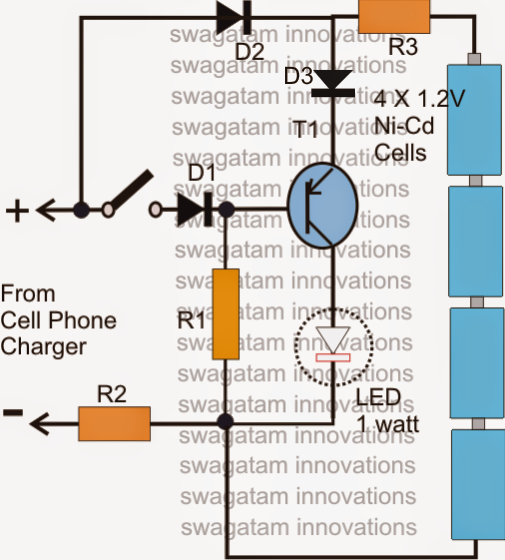 watt led driver using a cell phone charger  electronic circuit, circuit diagram