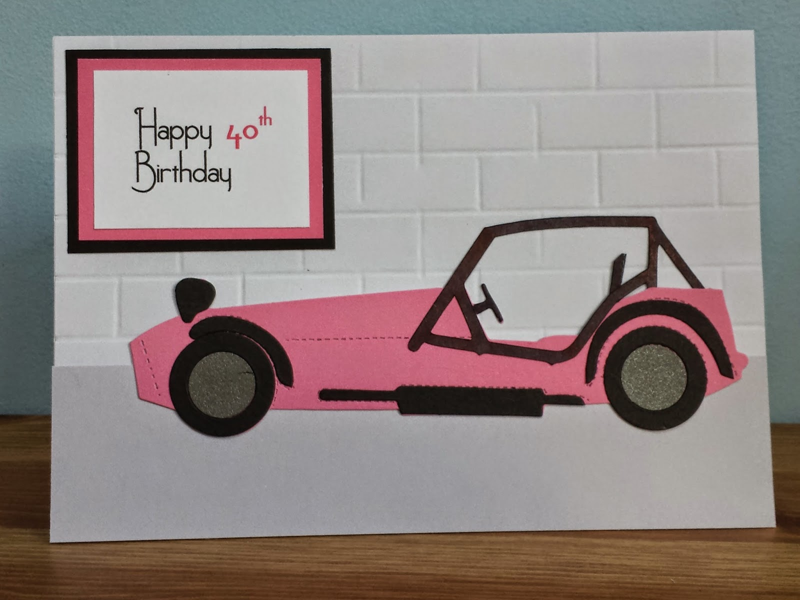 Happy Birthday Caterham card with full cage and wall background.