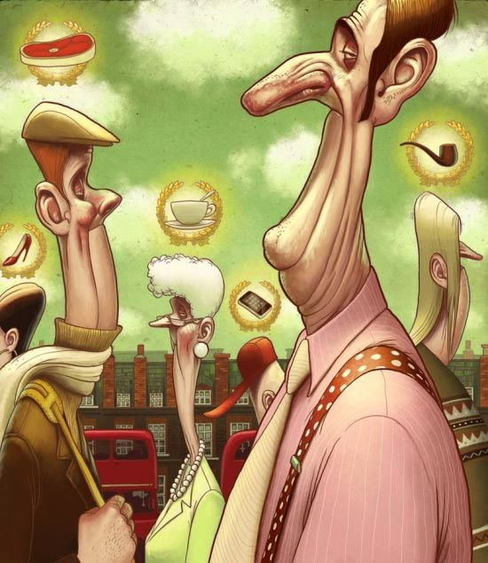 Denis Zilber illustrations funny cartoonish caricatures Snobs