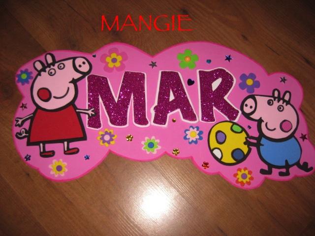 Letrero nombre goma eva Peppa Pig