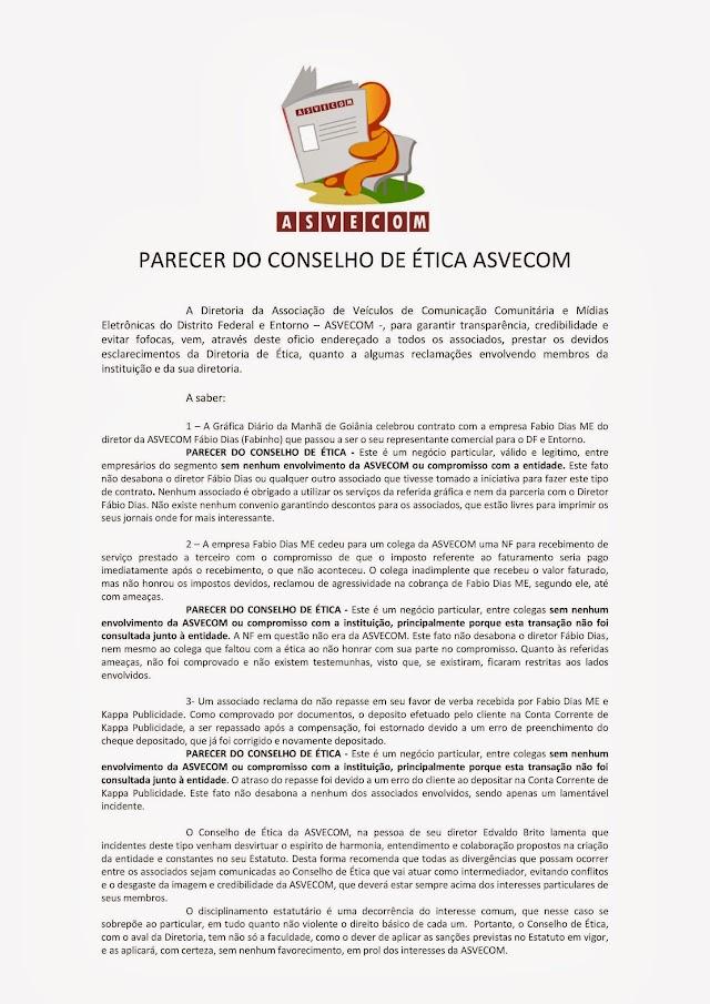 NOTA DO CONSELHO DE ÉTICA ASVECOM