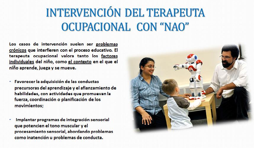 Objetivos Específicos e intervención del terapeuta con ''NAO'' el robot en terapia ocupacional