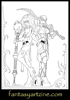 Sword girl and sorceress medieval fantasy art