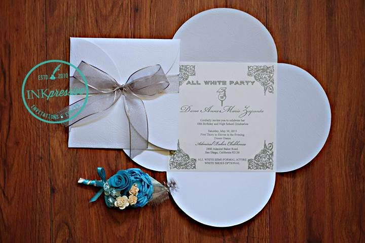 Silver and white petal invitation debut debut invitations silver and white petal invitation debut stopboris Image collections