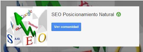 Comunidad en Google Plus de seo y posicionamiento natural y socialmedia