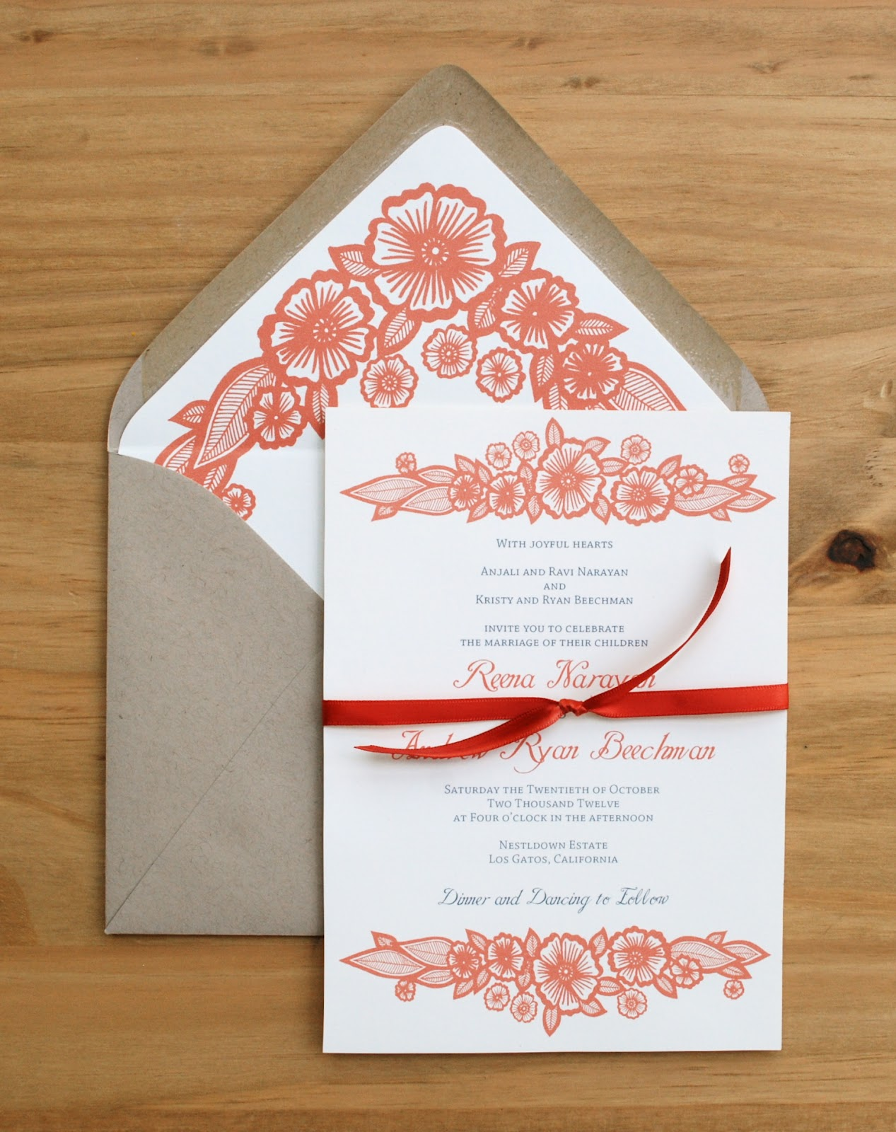 The Whole Thing Was Then Tied Together With A Bright Red Ribbon To Add One More Pop Of Color Invitation Suite Perfect For Fall Wedding