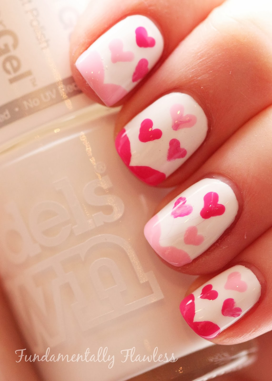 Valentine's Day nail art with Models Own White Light