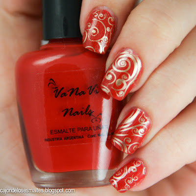 rojo intenso vanavi nails vanesa villata estampado moyou london