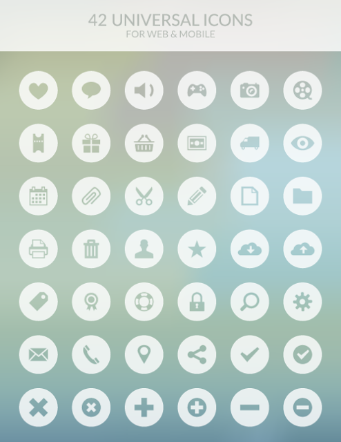 42 Universal Icons for Web & Mobile For Free Download: Freebies