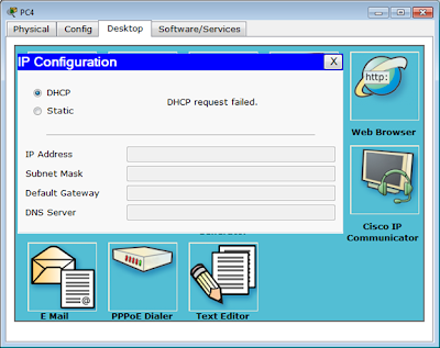 DHCP request failed di PC4