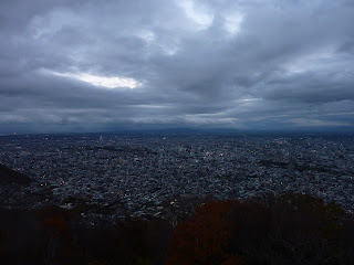 Sapporo city as seen from Mt Moiwa during twilight following sunset