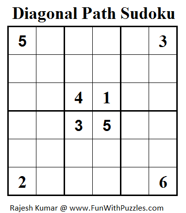 Diagonal Path Sudoku (Mini Sudoku Series #54)