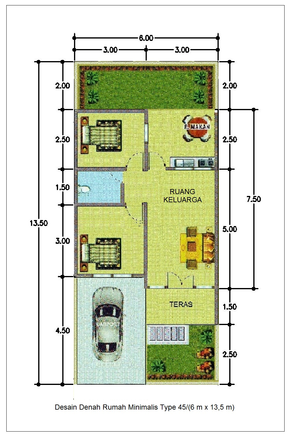 10 desain denah rumah minimalis modern 2 lantai type 45 - Desain Denah Rumah Minimalis Type 45 6m X 13 5m