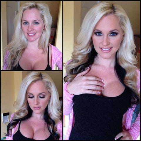 Actrices porno antes y después del maquillaje y peluquería