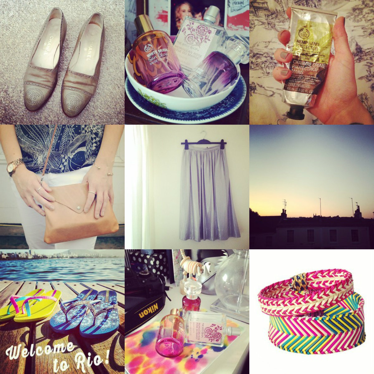 instagram, ipanema giveaway, body shop, perfume, toast, bangles, chanel  vintage shoes
