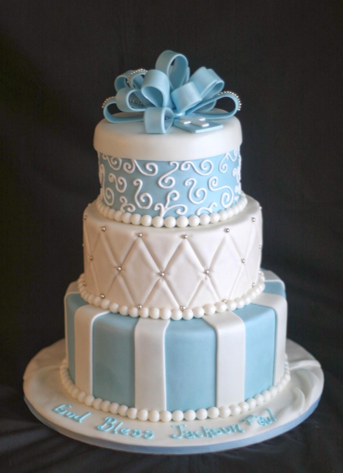 Blue Red Panda Cake Design