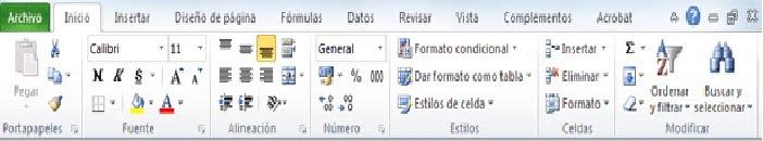 Barras de Menu de Excel Cada Menú de la Barra de Menú
