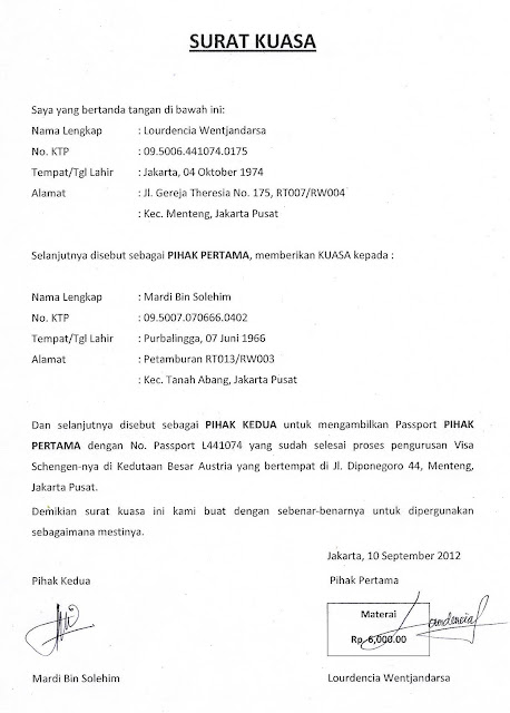 Surat Kuasa untuk pengambilan Passport ke Embassy Austria.