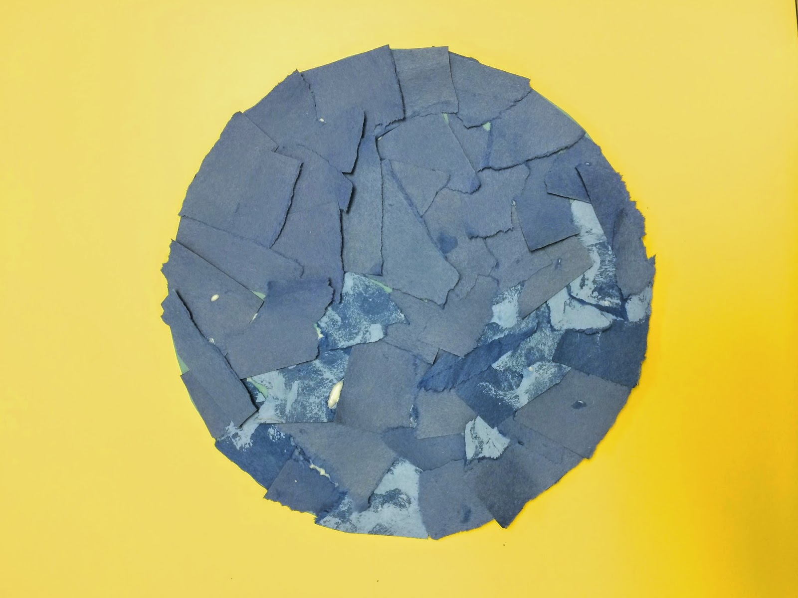 Tear fall colored construction paper into small pieces and glue - Tear Or Cut 1 Strips Of Blue Construction Paper Into Smaller Squares And Cover Circle Disregard The Two Tones I Took A Picture After I Started Painting