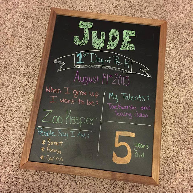First Day of School - Pre-K 2015-2016, first day of school chalkboard ...