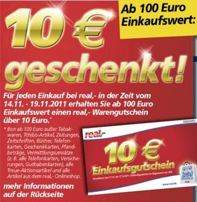 kauffuchs die welt der schn ppchen 10 euro gutschein f r real bei einkauf ab 100 euro in. Black Bedroom Furniture Sets. Home Design Ideas