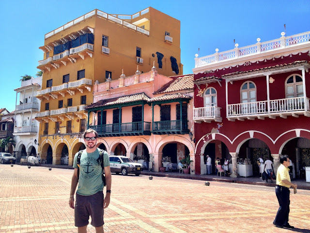 The main square behind the clock tower in Cartagena
