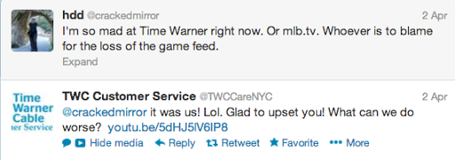 Example of bad customer service tweet