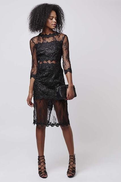 black topshop premium lace dress, long sleeve black lace dress, black lace midi dress, designer black lace dress,