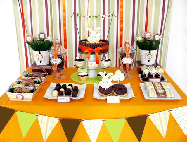 Easter Bunny Party: A Full-On Chocolate Desserts Table